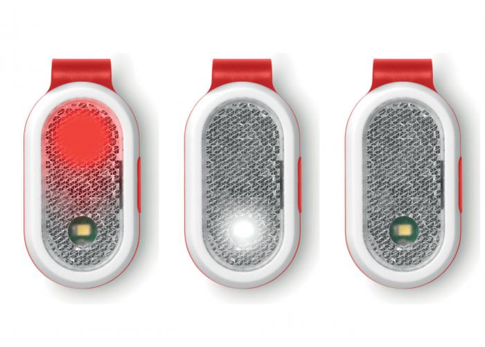 Luz de seguridad con clip Roja. Regalo publicitario . Regalos Promocionales. Marketing Directo. Regalo de Empresa. Promociones para Ferias y Eventos
