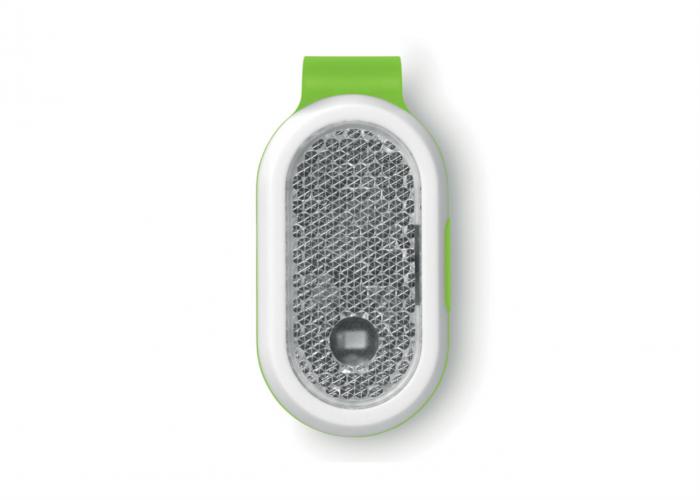Luz de seguridad con clip Verde. Regalo publicitario . Regalos Promocionales. Marketing Directo. Regalo de Empresa. Promociones para Ferias y Eventos