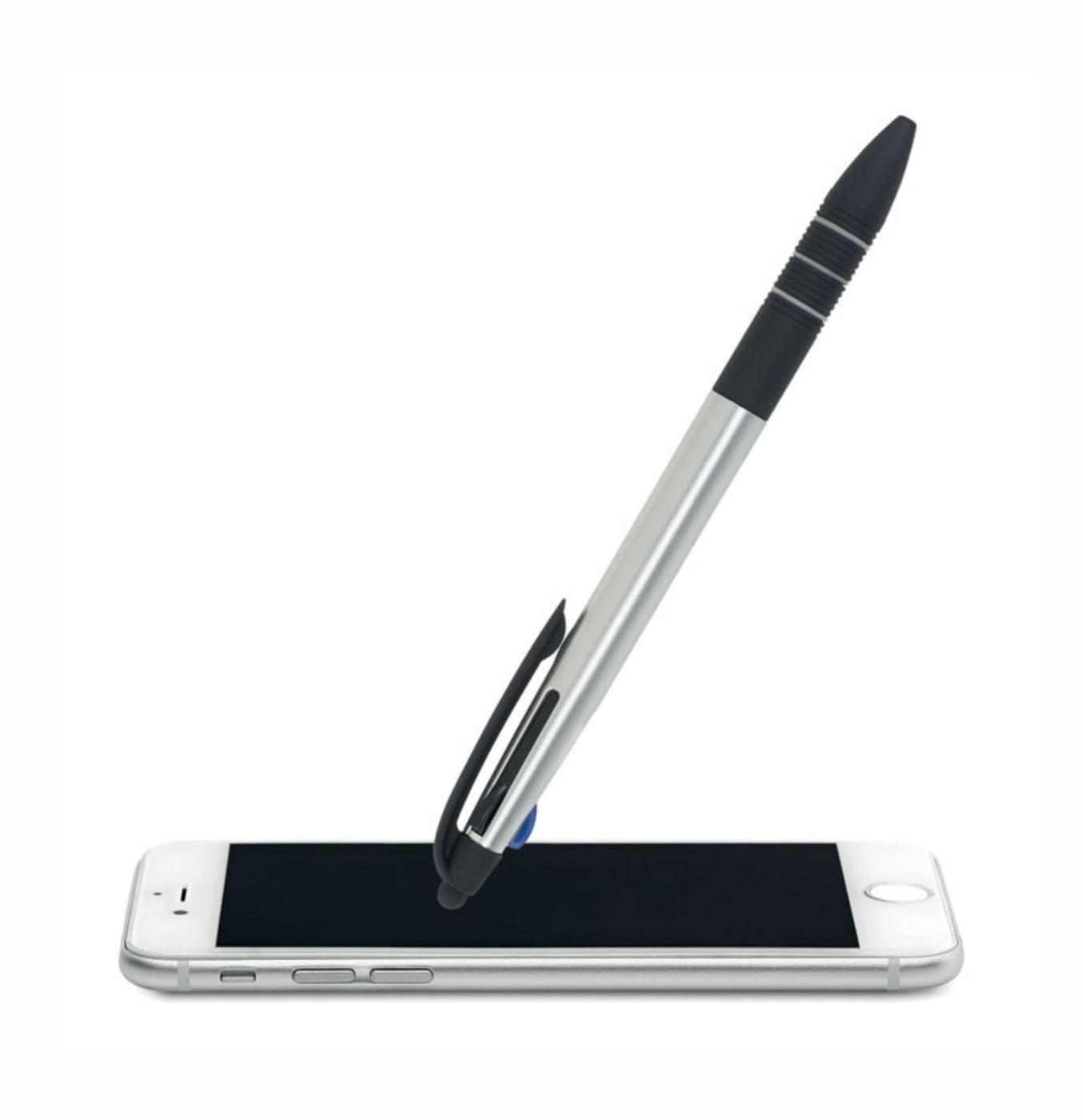 Bolígrafo Publicitario Touch 4 colores Plata