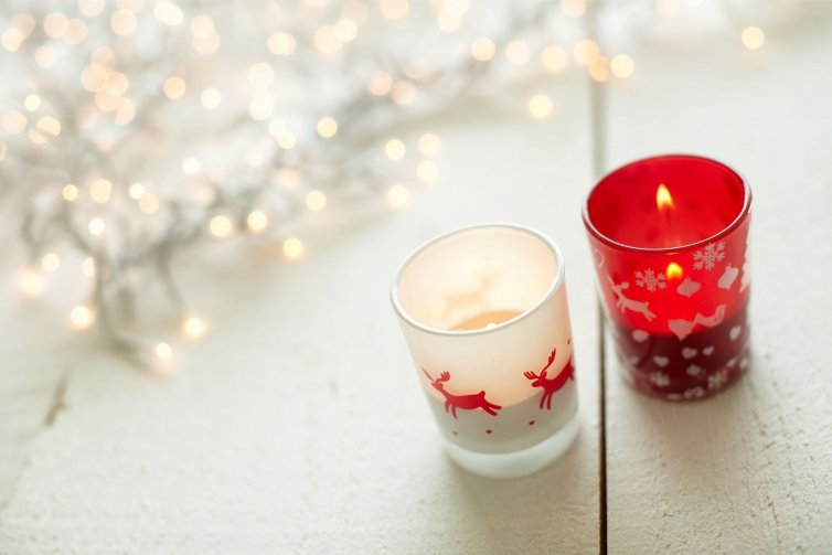 Vaso de cristal navideño
