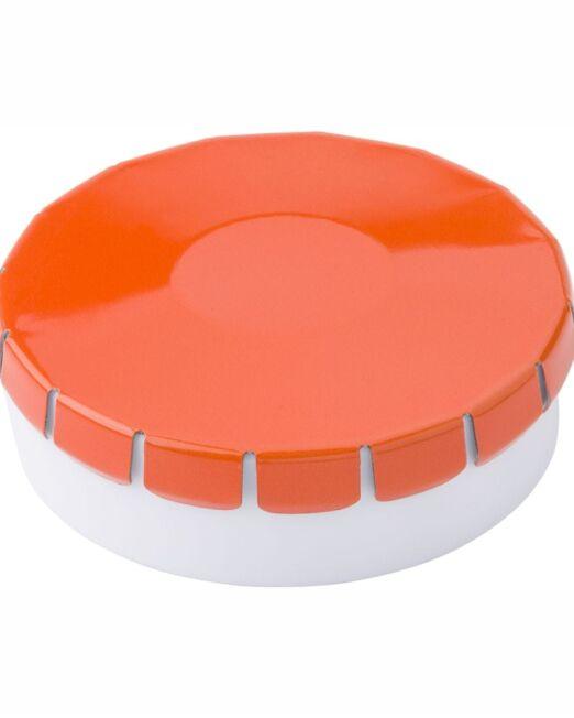 Cajita clic clac con caramelos Publicitarios Naranja
