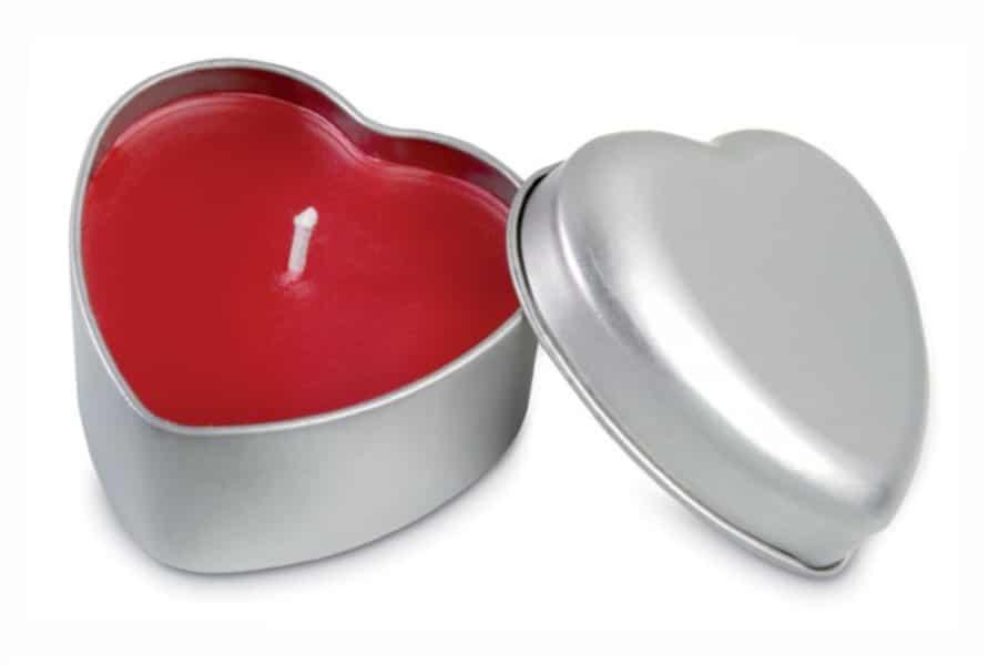 Velas Personalizadas Corazón en cajita metálica