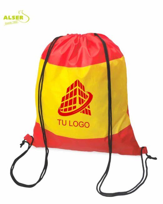 Mochila de cuerdas bandera española personalizada con logotipo