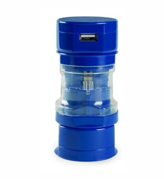 Adaptador Enchufe Viaje Azul. Regalo Publicitario