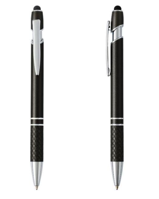 Excelente bolígrafo Touch fabricado en aluminio y metal, parte de agarre estriada, mecanismo de pulsador, incorpora punta pda en la parte superior. Recomendamos su marcaje en láser. Escritura tinta azul.
