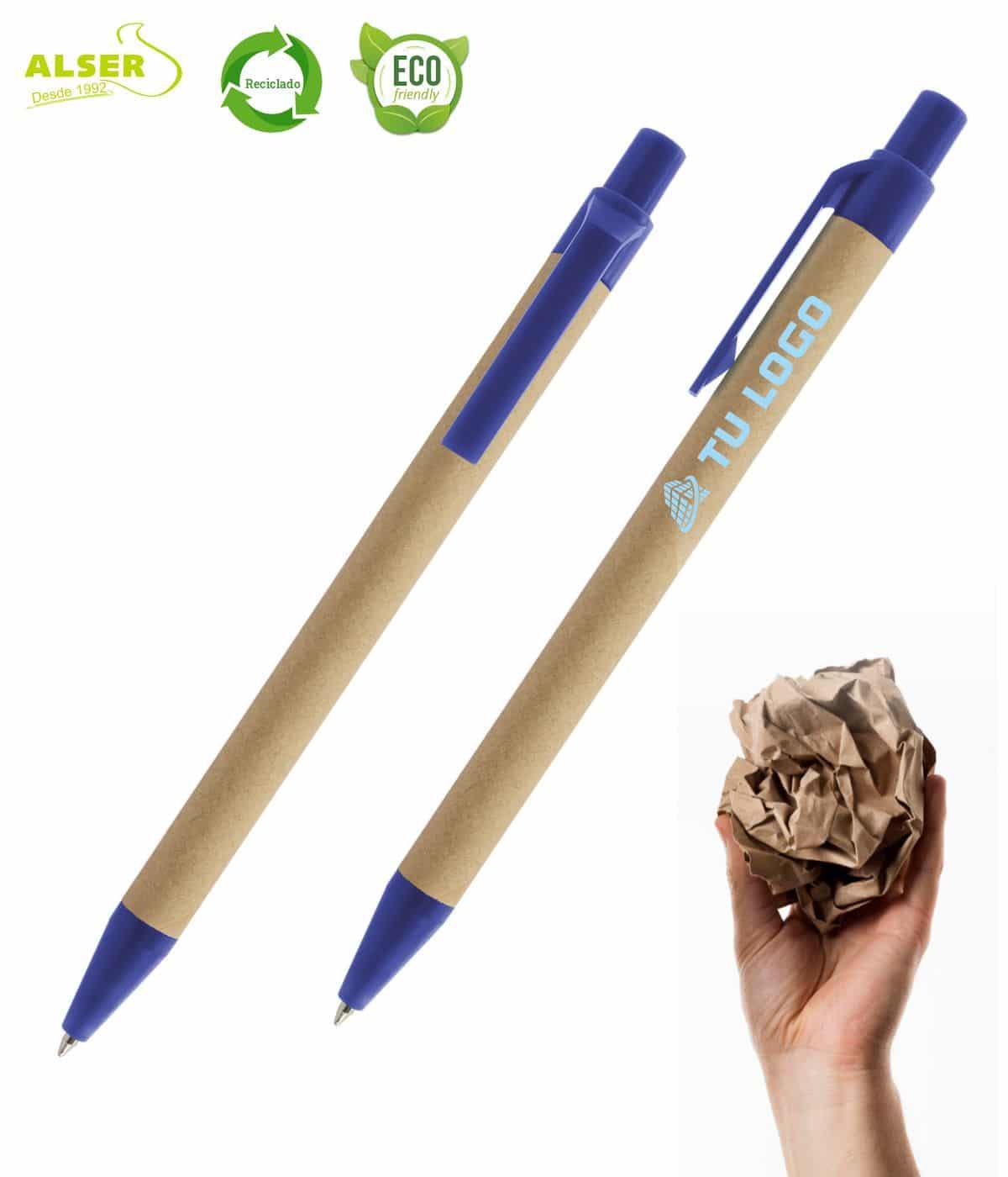 Bolígrafo de carton reciclado Azul