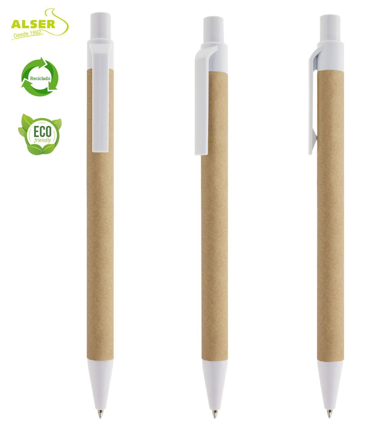 Bolígrafo de cartón reciclado Blanco