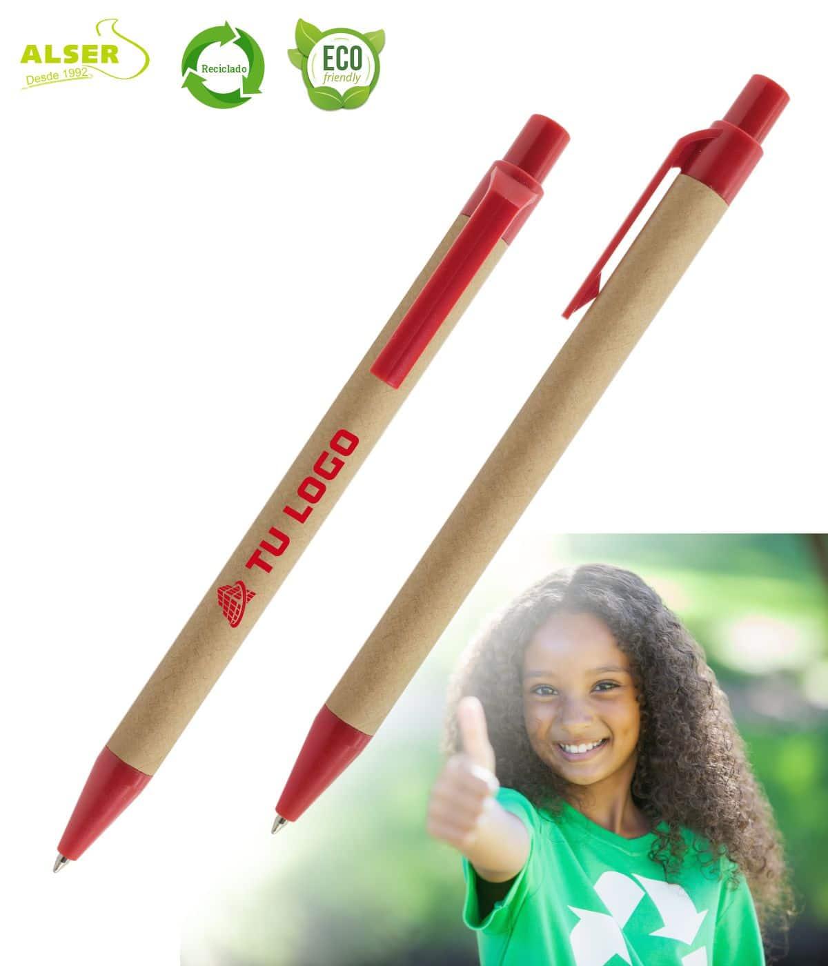 Bolígrafo de carton reciclado Rojo