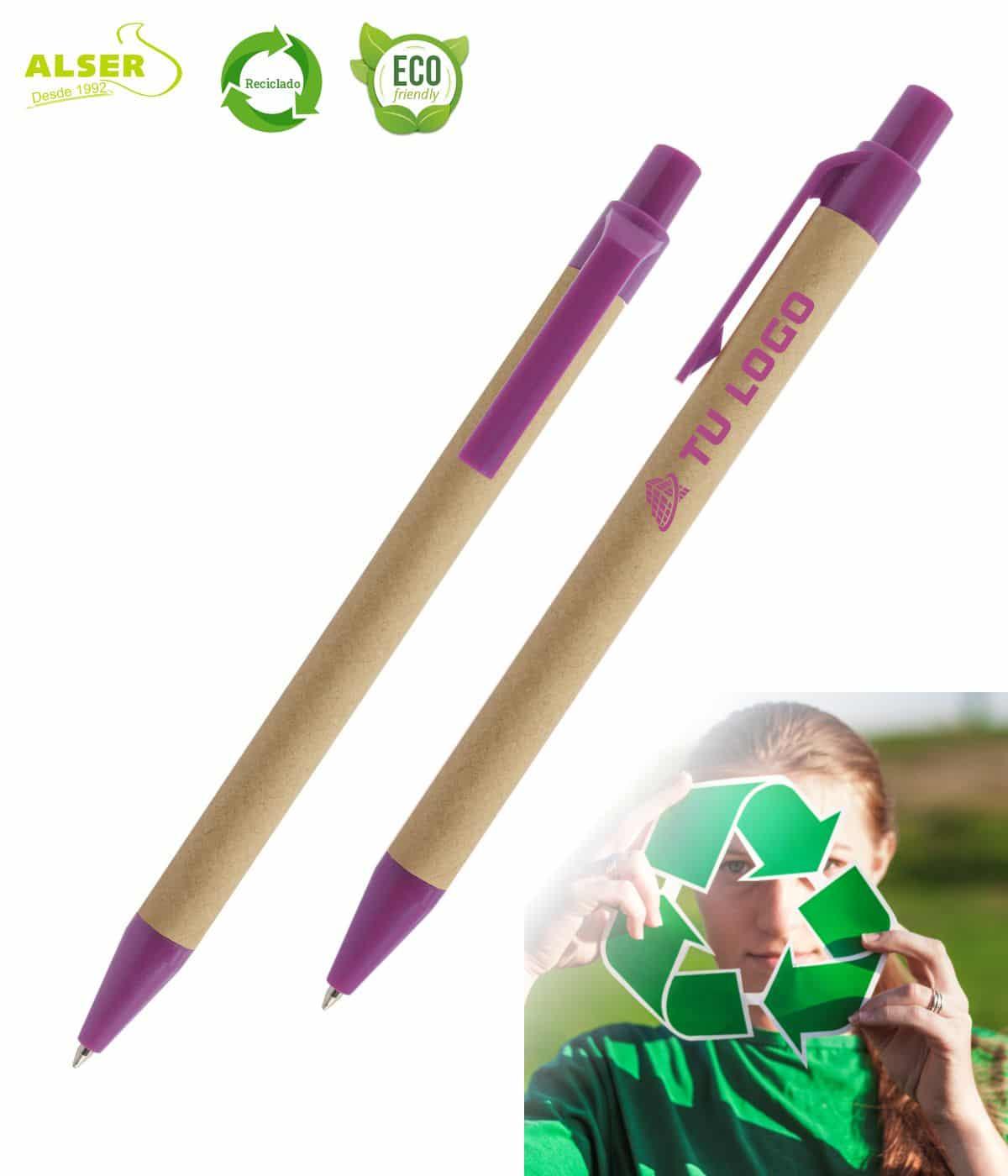 Bolígrafo de carton reciclado morado