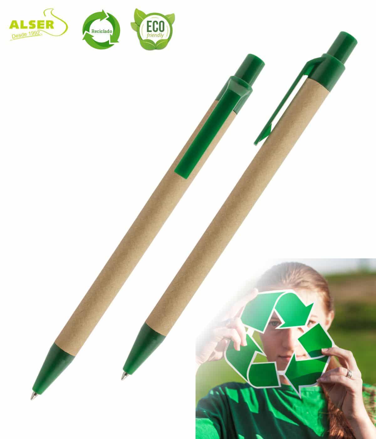 Bolígrafo de carton reciclado verde