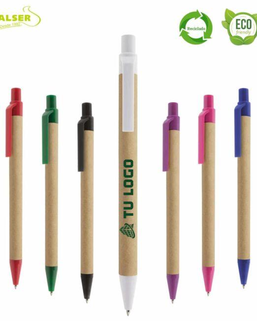 Bolígrafos de carton reciclado personalizados