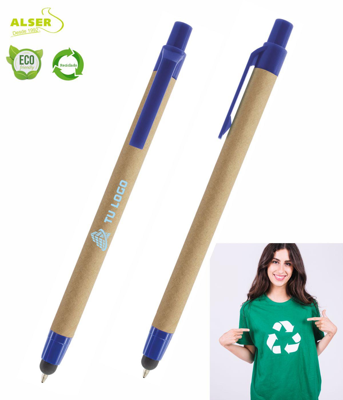 bolígrafo cartón reciclado touch Azul personalizado