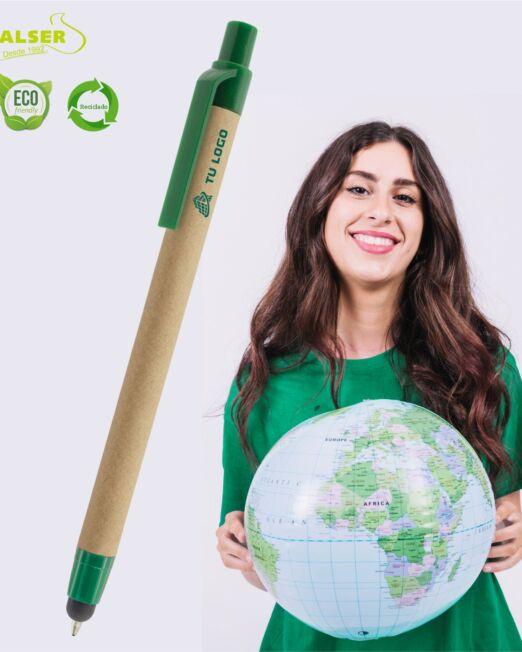 bolígrafo cartón reciclado touch con logo