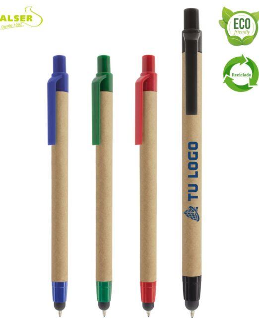 bolígrafos cartón reciclado touch gama de colores