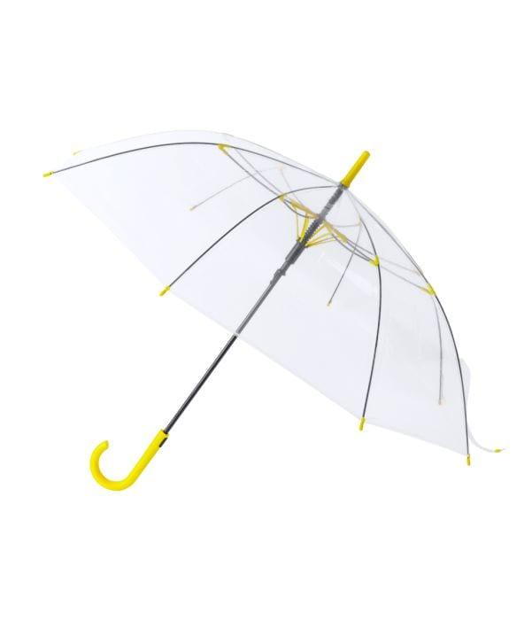 Paraguas Antiviento Transparente Amarillo