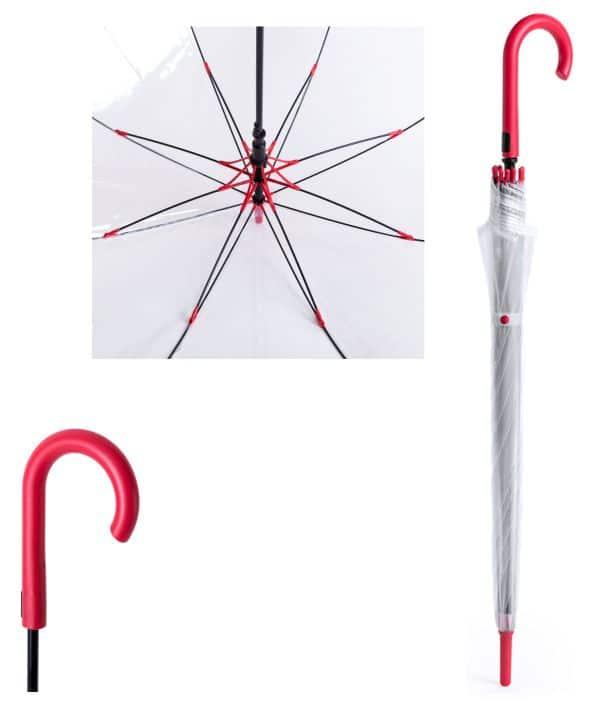 Paraguas Antiviento Transparente Rojo detalles