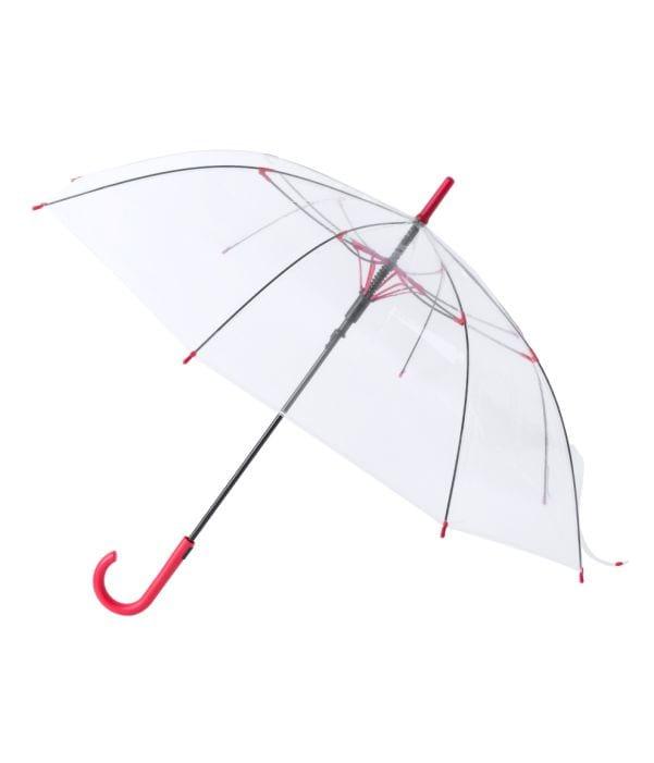 Paraguas Antiviento Transparente Rojo