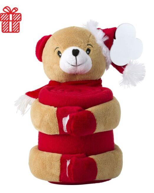Manta polar con peluche Navidad Oso