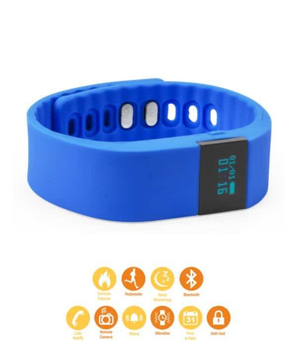 Pulsera de Actividad deportiva con correa de Silicona Azul