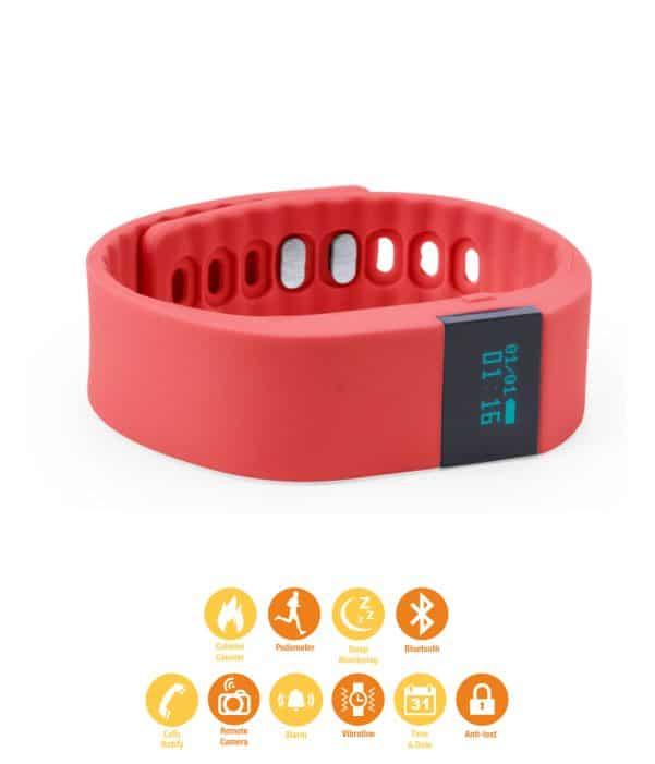 Pulsera de Actividad deportiva con correa de Silicona Rojo