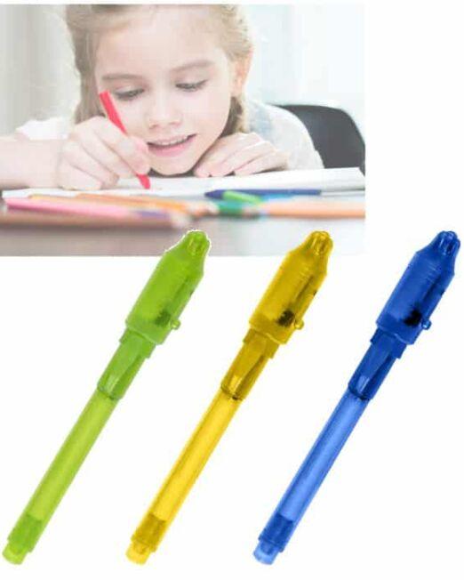 Bolígrafo Tinta Invisible y luz UV. El mensaje aparece cuando se ilumina con el bolígrafo. Pilas Incluidas. Regalos Publicitarios para niños