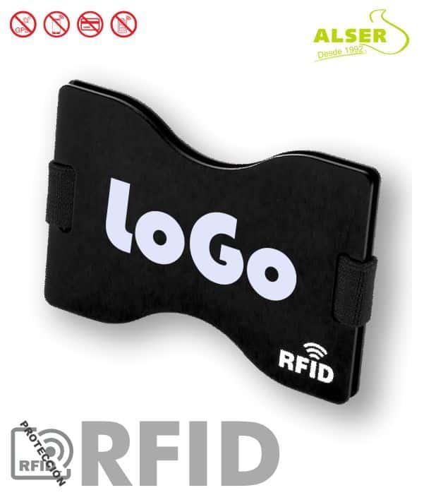 Tarjetero Rígido Rfid Personalizado Negro. Artículos Publicitarios