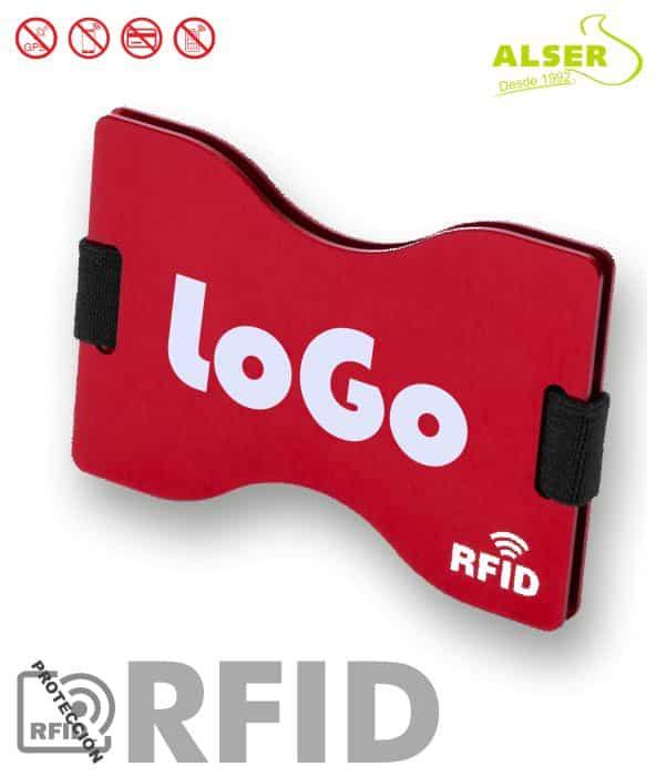 Tarjetero Rígido Rfid Personalizado Rojo. Artículos Publicitarios