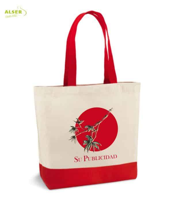 Bolsa Lona Bicolor Promocional roja. articulo de publicidad
