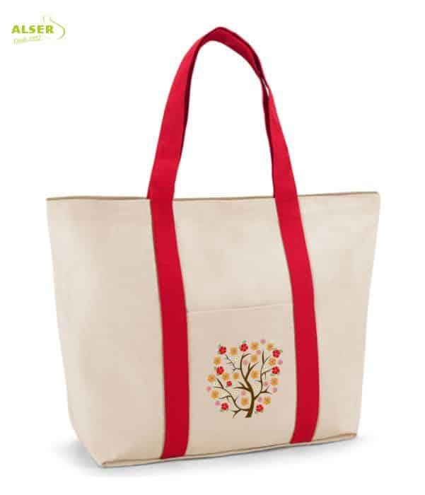 Bolsa Playa Bicolor Personalizable Roja. Regalo de Empresa