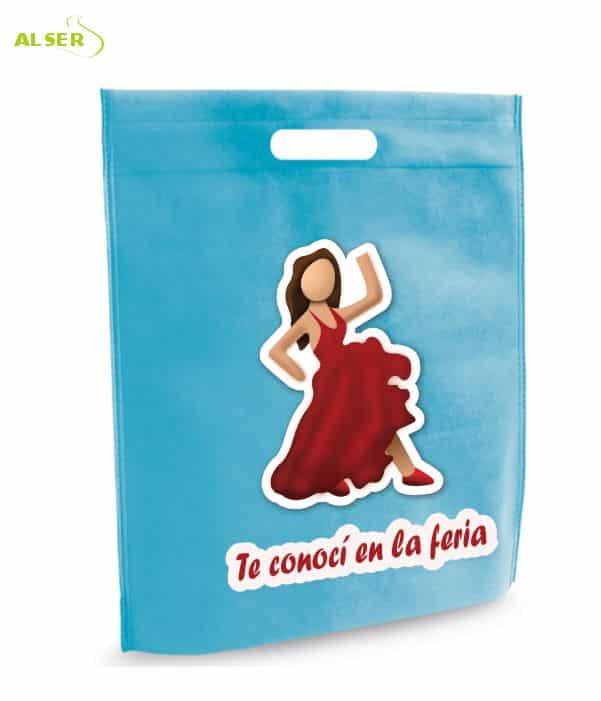Bolsa para Feria Publicitaria Personalizada con tu Marca Azul Claro. Regalos promocionales