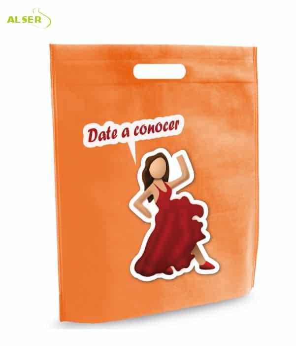Bolsa para Feria Publicitaria Personalizada con tu Marca Naranja. Regalos promocionales