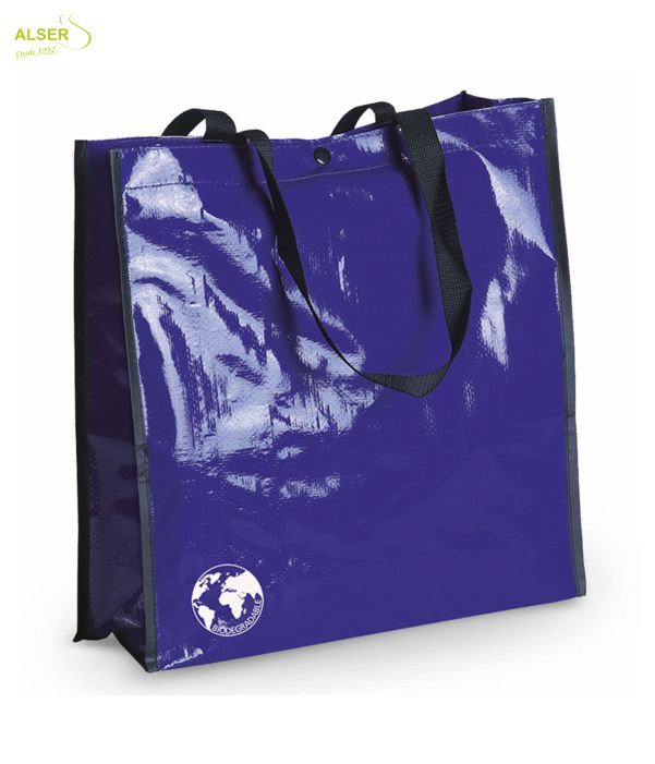 Bolsa Biodegradable Personalizada con clain de tu comercio Azul