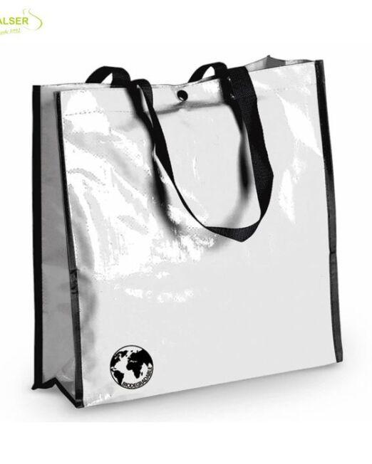 Bolsa Biodegradable Personalizada con clain de tu comercio Blanca
