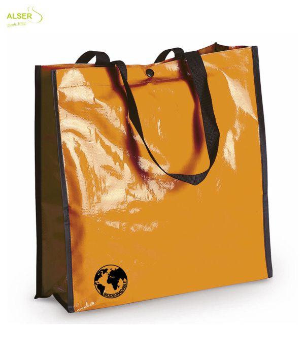 Bolsa Biodegradable Personalizada con clain de tu comercio Naranja