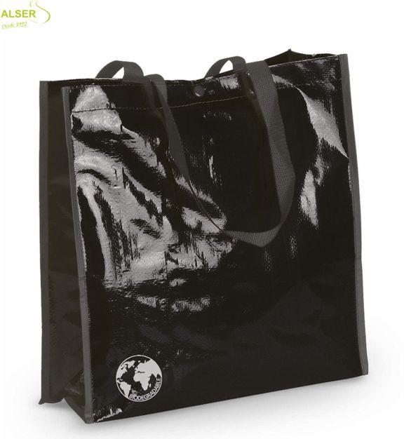 Bolsa Biodegradable Personalizada con clain de tu comercio Negra