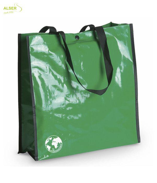 Bolsa Biodegradable Personalizada con clain de tu comercio Verde