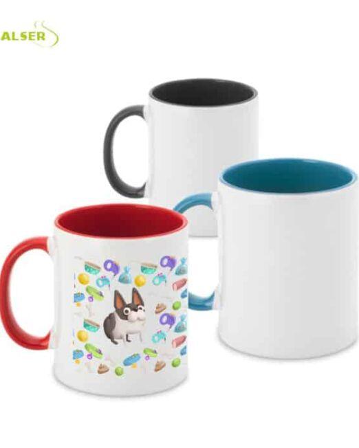 Mug Cerámico para promociones de Empresa. Tres Colores, Negro, Azul y Rojo