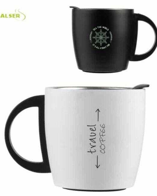 Mug Doble Pared Promocional para publicidad. Colores Blanco y Negro
