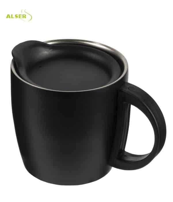 Mug Doble Pared Promocional para publicidad. Negro