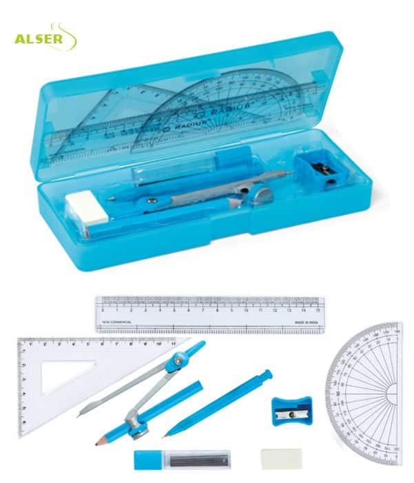 Set escolar geometría para promociones escolares. Azul