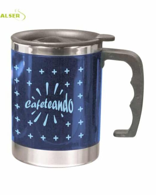 Taza Doble Pared Personalizada . Azul