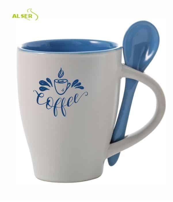 Taza cerámica personalizada muy original con cuchara en color. Azul Claro
