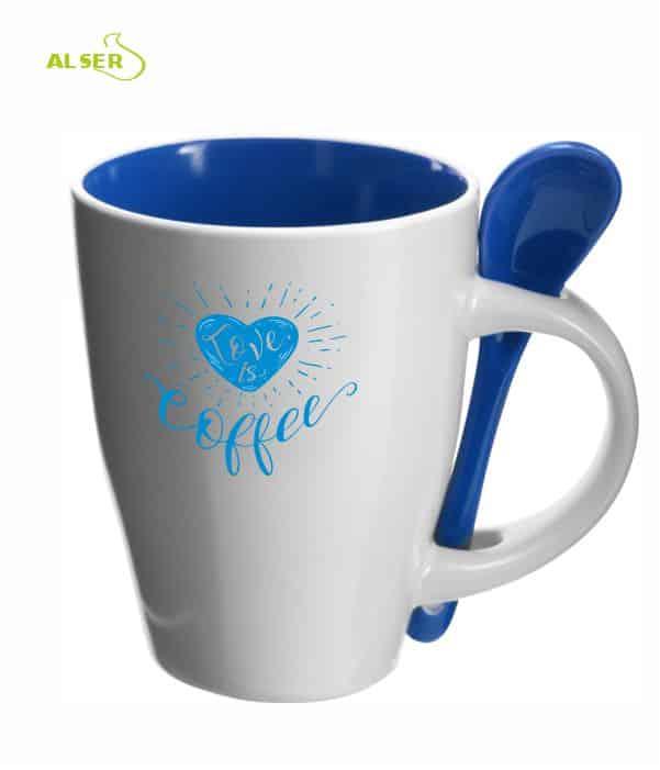 Taza cerámica personalizada muy original con cuchara en color. Azul Oscuro