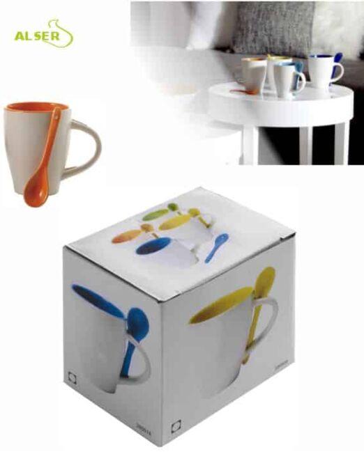 Taza cerámica personalizada muy original con cuchara en color. Caja Individual