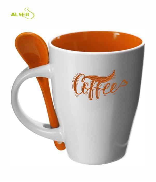 Taza cerámica personalizada muy original con cuchara en color..Naranja