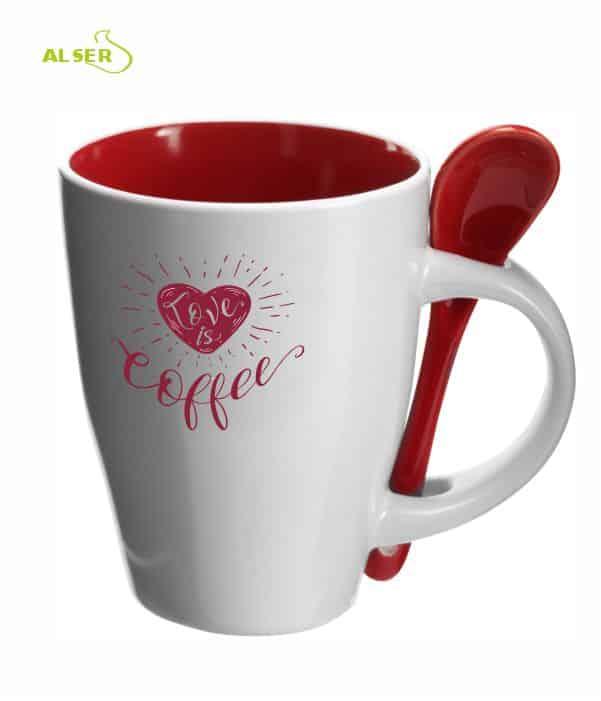 Taza cerámica personalizada muy original con cuchara en color. Roja