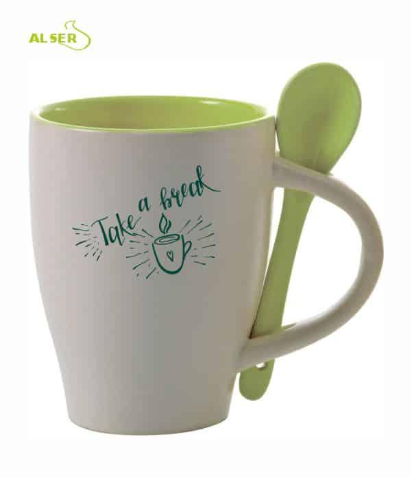 Taza cerámica personalizada muy original con cuchara en color. Verde Claro