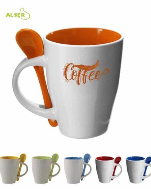 Taza cerámica personalizada muy original con cuchara en color. Colores
