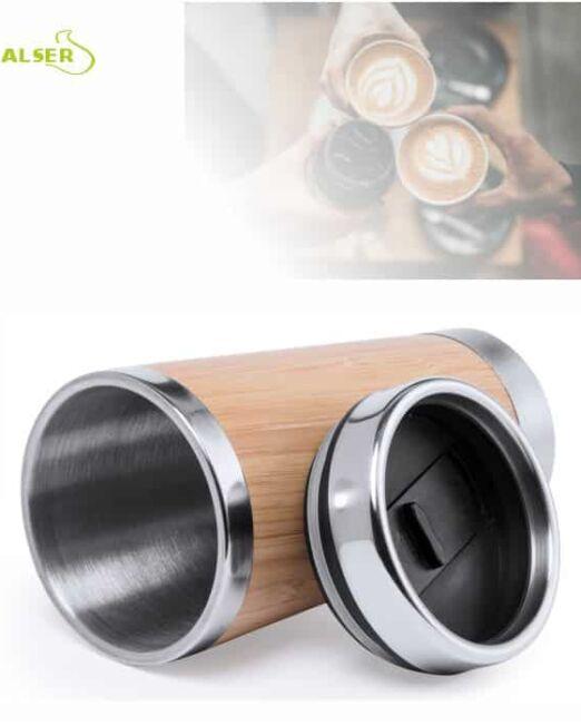 Vaso Promocional de linea natural, fabricado en bambú y acero . Con Tapa Abierto