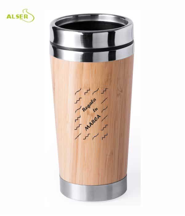 Vaso Promocional de linea natural, fabricado en bambú y acero